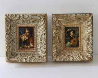 Vintage Tiny Framed Paintings of a Man with an Instrument Antique Miniatures