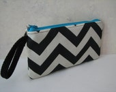 Handmade Wristlet Clutch Black and Ivory Chevron with Turquoise accent