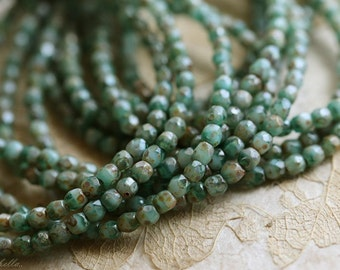 sale .. TEAL SKY BITS .. 50 Premium Picasso Faceted Czech Glass Beads 3mm (4266-st)