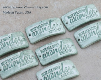 J.R.R. Tolkien Quote on a pottery cuff bead in Sage Green