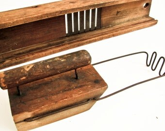 Antique Mandolin Vegetable Slicer, Rustic Kitchen Decor