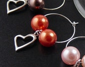 Wine Charms 6 Silver Heart Beads Stemware Glass Gifts Wedding Favors (1011win20s1)