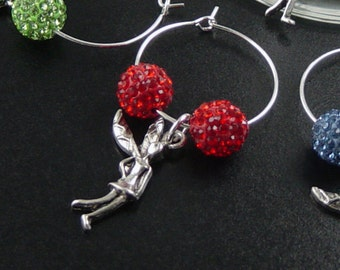 Wine Charms 6 Silver Angel Fairies Cupid Sparkle Disco Beads Stemware Glass Gifts Wedding Favors (1017win25s1)