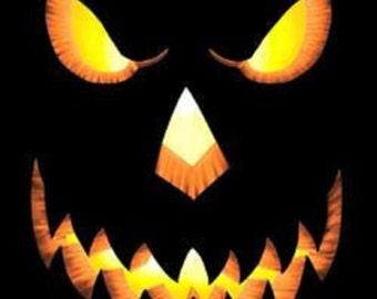 Womens Black Scary Pumpkin Face Tee Shirt Fall Halloween Pumpkin Short Sleeve Sizes Small through 3XL Plus Sizes Too Costume Free Shipping