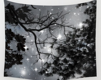 Trees Wall Tapestry, Stars Tapestry, Night Sky Home Decor, Nature Tapestry, Wall Tapestry, Home Decor, Whimsical, Tree Branches, Woodland