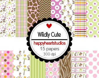 Digital Scrapbookinging WildlyCute -INSTANT DOWNLOAD