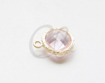 2pcs Matte Gold Tone Round Framed Glass Charm - Earring Findings - Pink 12x18mm (4177/1Z/C-T-343)
