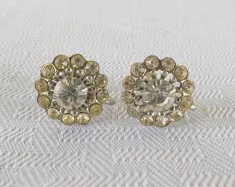 1940s Vintage Rhinestone Screw Back Earrings