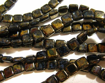 Czech 2 Hole, 6mm Tile Beads, Bronze Picasso - LG23980 one string of 25 beads