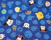 Disney Character  Disney tsum tsum fabric Print Denim style  50 cm by 106  cm or 19.6 by 42 inches  Half Meter