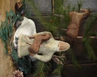 Primitive Santa and Horse Ornament