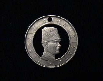 2002 Turkey - cut coin pendant - w\/  KEMAL ATATURK
