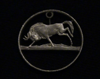 South Africa - cut coin pendant - w/ Wildebeest - 1979