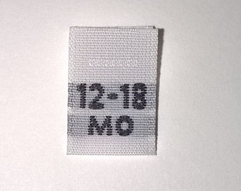 Size 12-18 months Woven Clothing Size Tag (Package of 50)