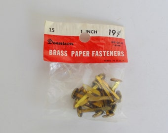 Dennison Brass Paper Fasteners brads Vintage Office Supplies 1960s New Old stock