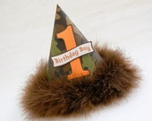 Camo and Orange Boys Party Hat - Army, Camoflage, Camping Party