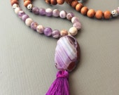 amethyst and wood traditional 108 bead mala prayer beads with tassel