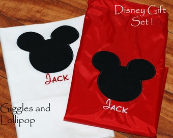Girls Boys personalized disney autograph pillowcase cinch sak gift set mickey minnie mouse