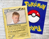 I choose you Pokemon inspired birthday photo invitation