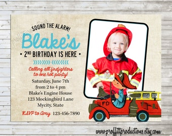 Calling All Firemen and Firefighters custom printable photo party invitation - digital file