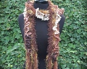 Brown knitted scarf with tri-toned ruffle (sku#08-R)