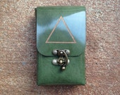 FIRE Gold Alchemy Element Symbol Etched mossy green Patent Leather Tarot Deck Cards Holder Pouch Case
