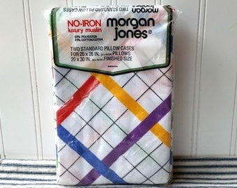 Vintage Morgan Jones pillowcases Plaid luxury muslin no iron pair new old stock unused in package