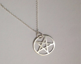 Sterling silver pentagram necklace