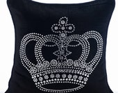 Decorative Throw Pillow Covers Accent Pillow Couch Sofa Toss Bed Pillow Case 16x16 Velvet Pillow Cover Crystal Embroidered Emperors Crown