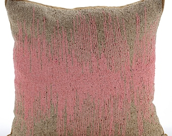 Decorative Throw Pillow Covers Accent Pillow Couch Sofa Pillow Case 16x16 Gold Brown Silk Pillow Cover Pink Bead Embroidered Pink Phenomena