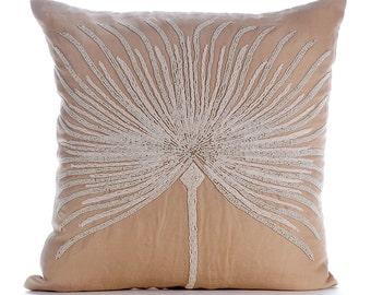 """Beige Throw Pillows Cover For Couch, 16""""x16"""" Cotton Linen Throw Pillows Cover, Square  Beaded Tree Throw Pillows Cover - Fragrant Dream"""
