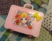 Upcycled Vintage Plastic Hong Kong Doll Suitcase in Pink with Retro Girl Macoto Style Art