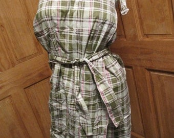 SALE - Green Plaid Halter Wrap Summer Dress/Beach Cover Up (4657)