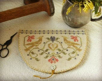 Primitive Cross Stitch Pattern - Growing Love Stitcher's Wallet