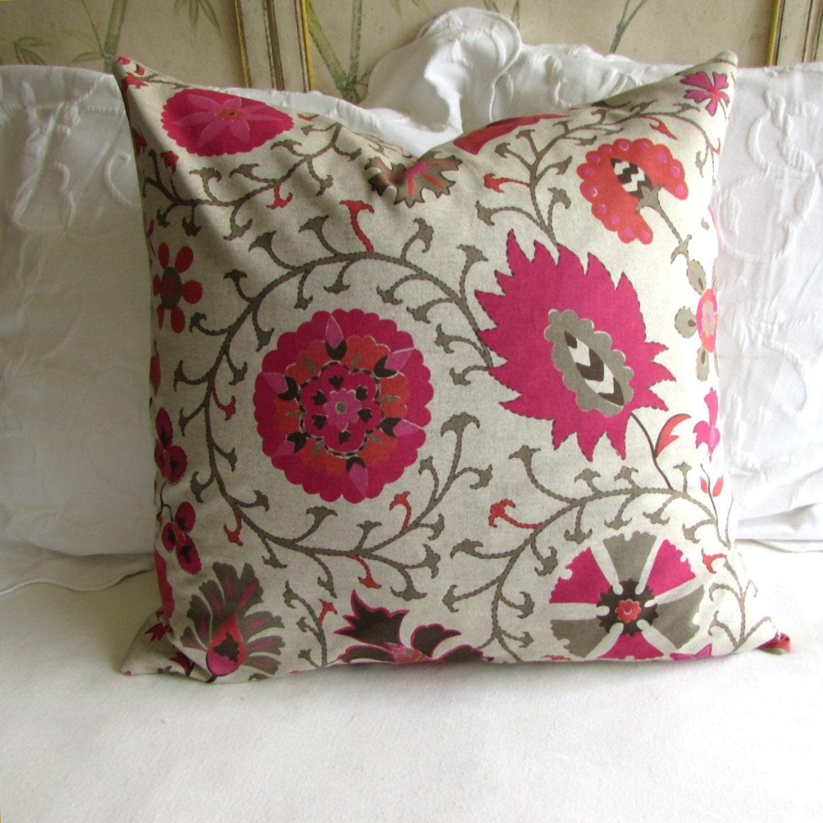 Large Flower Throw Pillow : CALYPSO HIBISCUS large floral decorative euro pillow cover