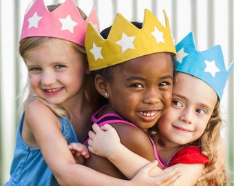 Gold Star Crown, Adjustable Crown, Birthday Party Crown, Pretend Play Costume, Gender Neutral Gift, Gift for Toddler,  First Birthday Outfit