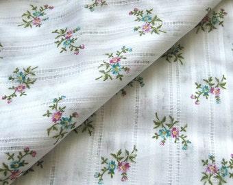 Seventies Vintage Cotton Fabric - Dainty Multi Color Floral - Woven Stripes - White Cotton