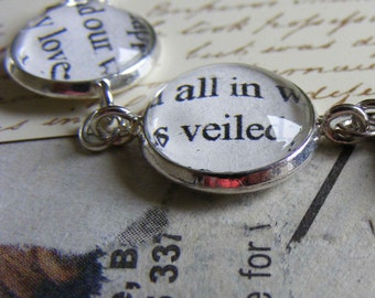 Sterling silver necklace Poetry necklace  - Our love, all in veiled beauty, shining - for the romantic in you
