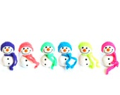 Snowmen Wool Ornament - Holiday Decoration Wool Felted - Set of 6