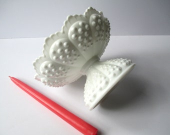 Vintage Fenton Milk Glass Hobnail Footed Candle Bowl - Weddings Bridal