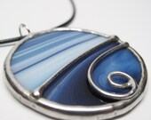 Whirlwind - Stained Glass Pendant with Black Cord