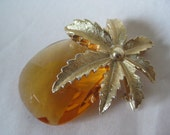 Pineapple Gold Brooch Amber Glass Faceted Vintage Pin Sarah Coventry