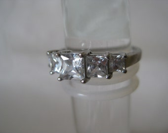 Clear Stone Ring Sterling Silver Vintage CZ Size 8 1/4 925