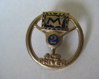 Ace Driver Two Year Tie Tack Gold Vintage Pin Lapel Enamel Blue Markel