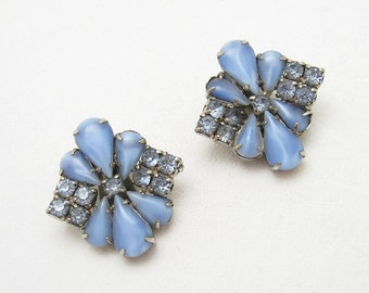 Blue Rhinestone Earrings Vintage Jewelry E6736