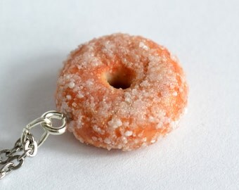 Handmade Sugar Donut Charm - Available on Necklace or Clasp - Polymer Clay Jewellery - Doughnut Necklace - Birthday Gift