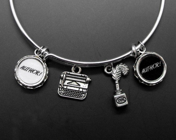 Author Bracelet Writer Adjustable Stackable Bangle