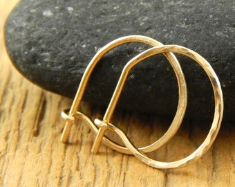 Gold hoops, solid 14k yellow gold hoops, tiny gold hoops, 1/2 inch hoops, 0.5 inch tiny gold hoops, solid 14k gold, ONE pair (2 hoops).