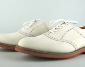 Vintage White Leather Saddle Oxford Shoes 10 D Keith Highlanders NOS