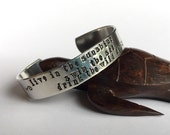 Live in the Sunshine quote stamped cuff, poetry stamped bracelet, poetry jewelry